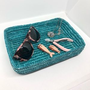 Other - Teal Wicker Vanity Tray